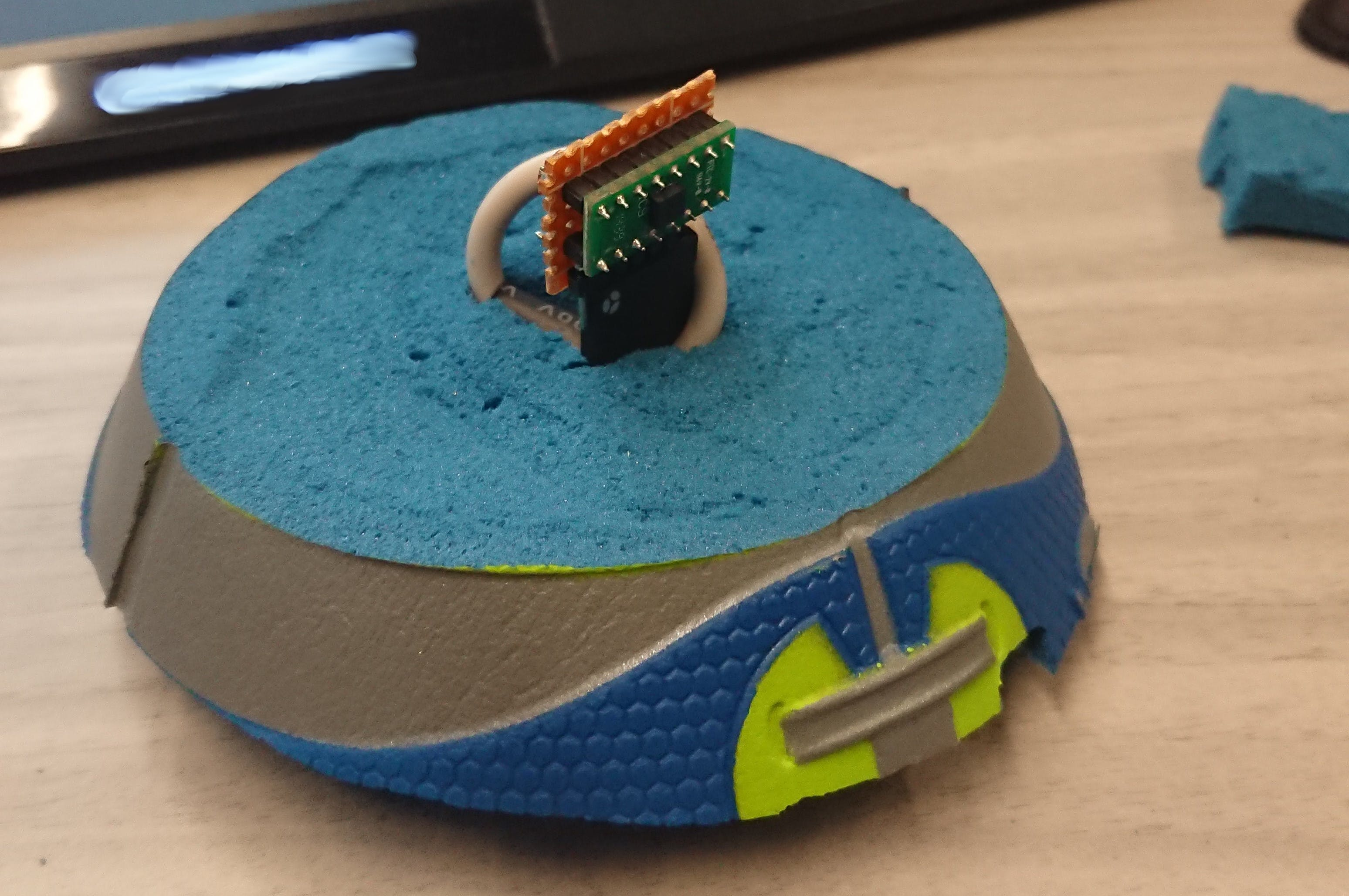 Accelerometer in its portion of the ball before full assembly