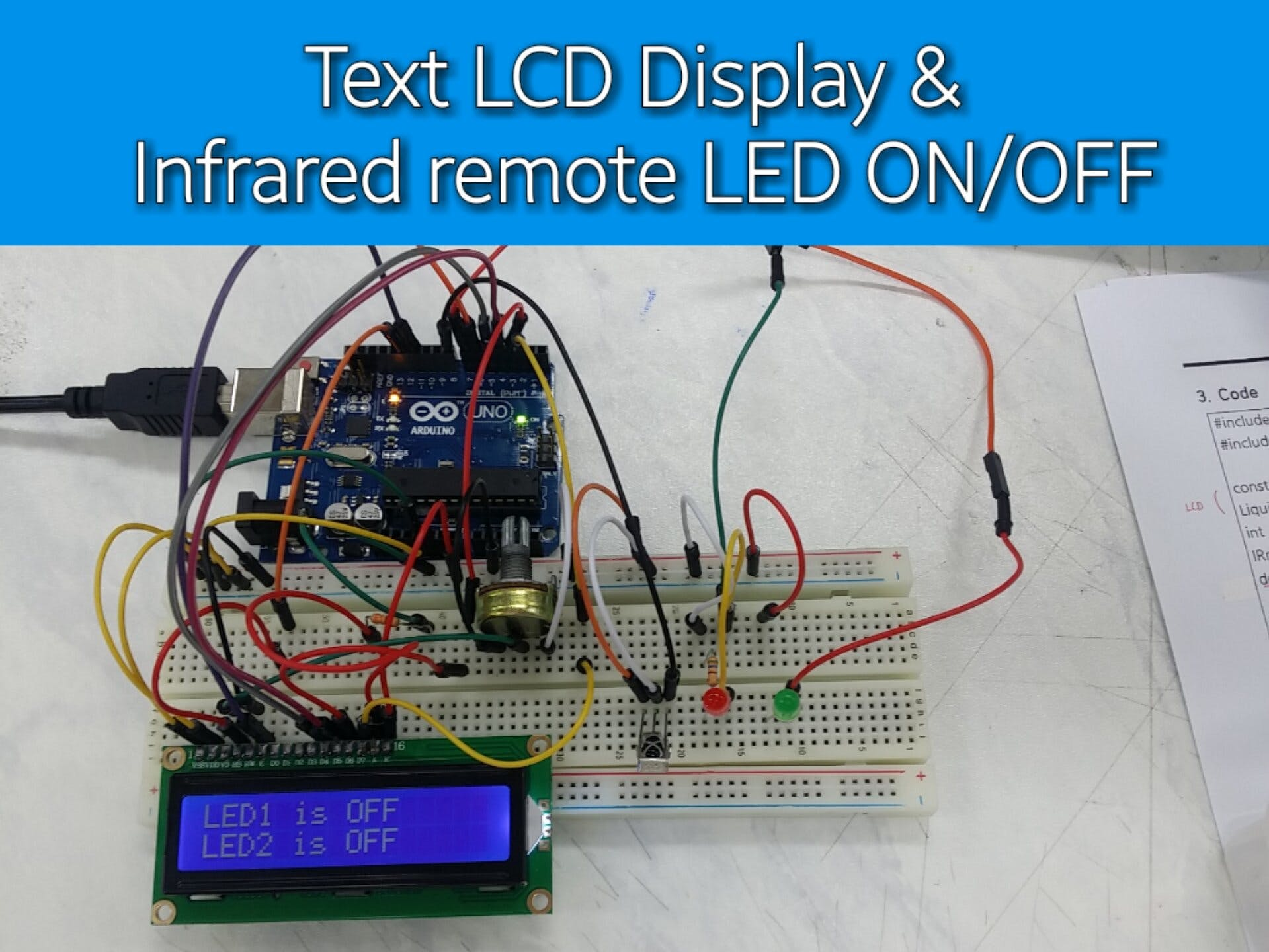 Text LCD Display & infrared remote LED ON/OFF