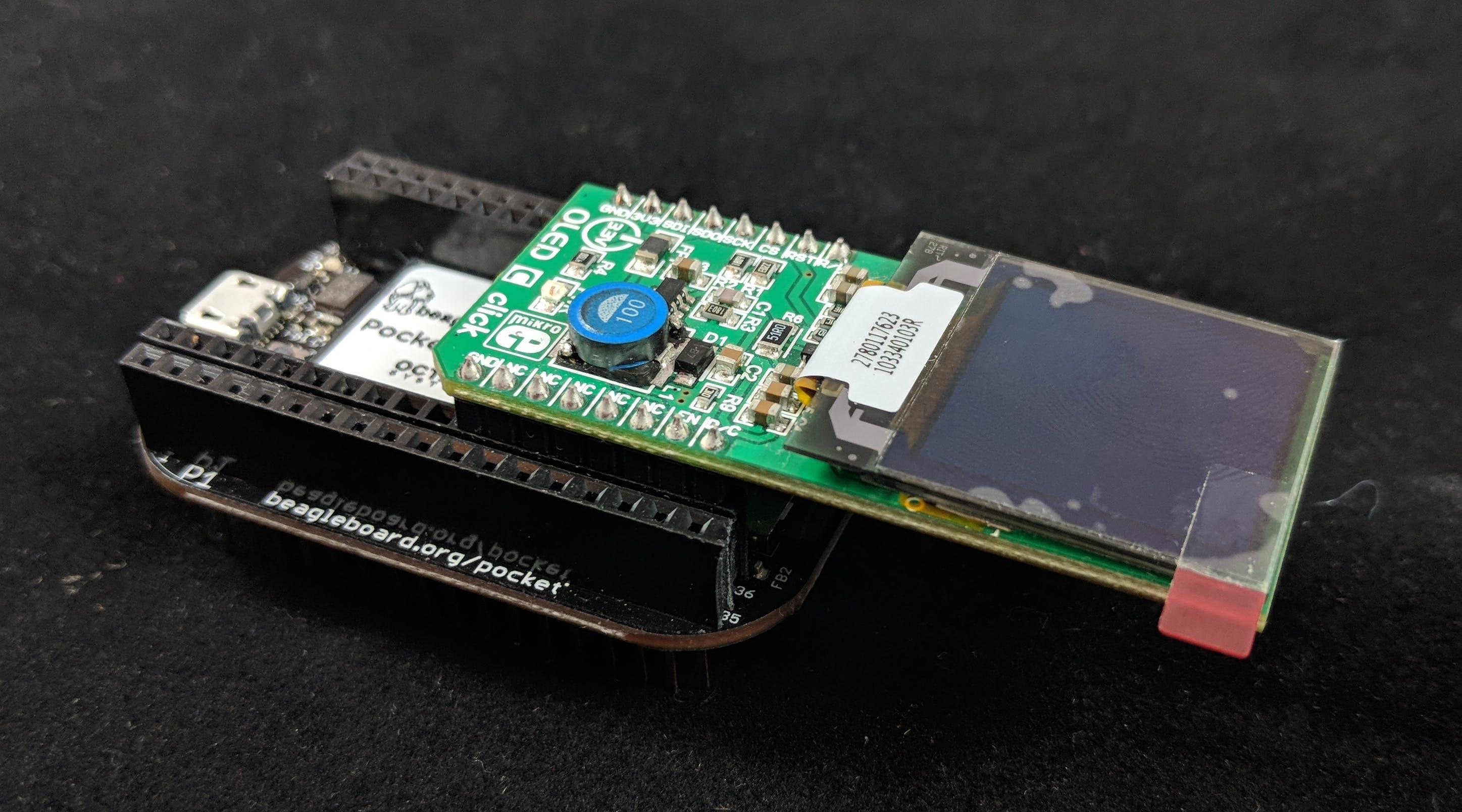 OLED-C Click installed on PocketBeagle®