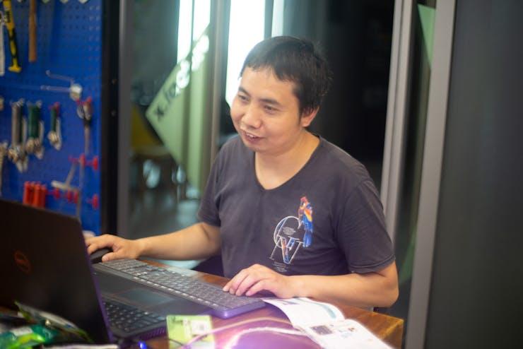 John was happy when coding