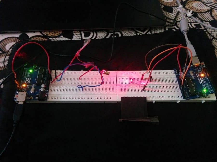 Morse Code Communication Using Laser Module (Both)