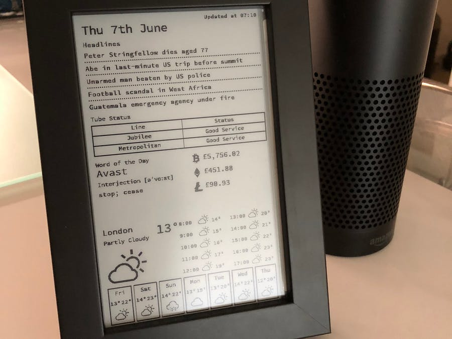 E-Ink Display for Daily News, Weather and More
