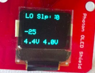 Power supply voltage (4.4v) is low, so 25 second countdown until give up taking readings and go back to sleep