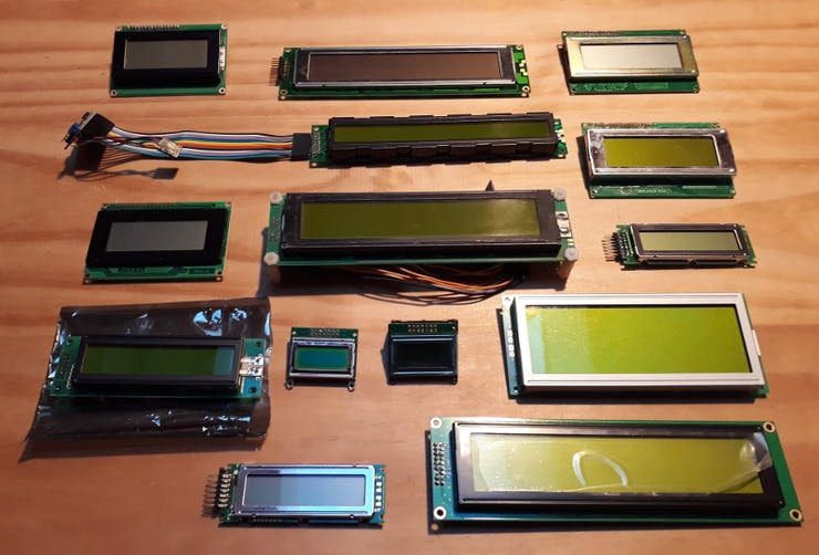 An assortment of character LCD displays from my parts bin