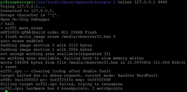 What  you see on OpenOCD output when flashing firmware - this is normal