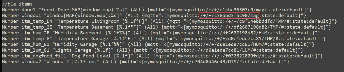 OpenHAB item definition - defining MQTT items for BLE sensors