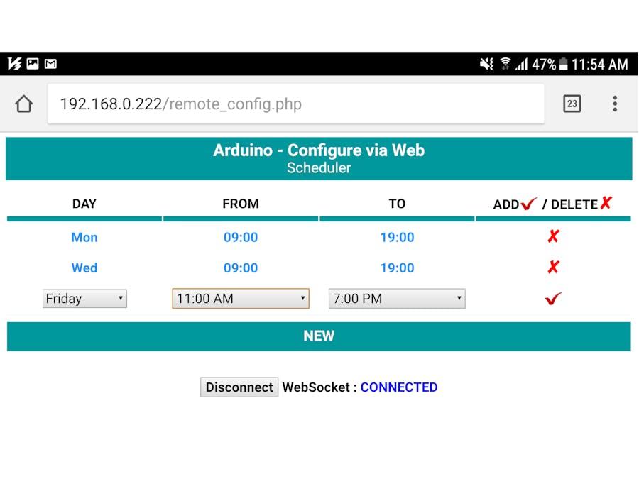 Arduino - Set Schedule via Web