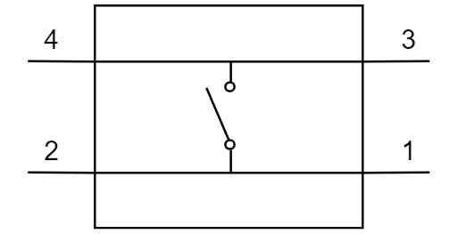 Typical layout for 4-pin push-buttons