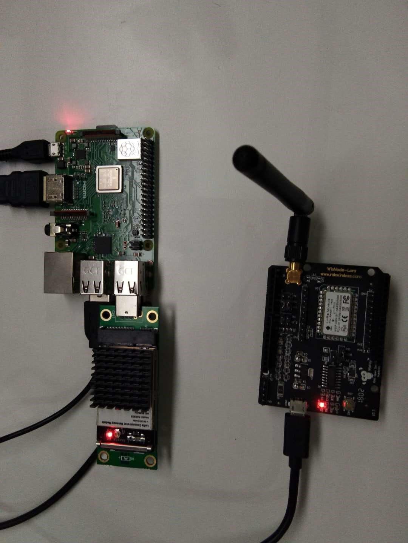 Raspberry Pi 3 module B+, RAK833 LoRa gateway module and RAK811LoRa Node