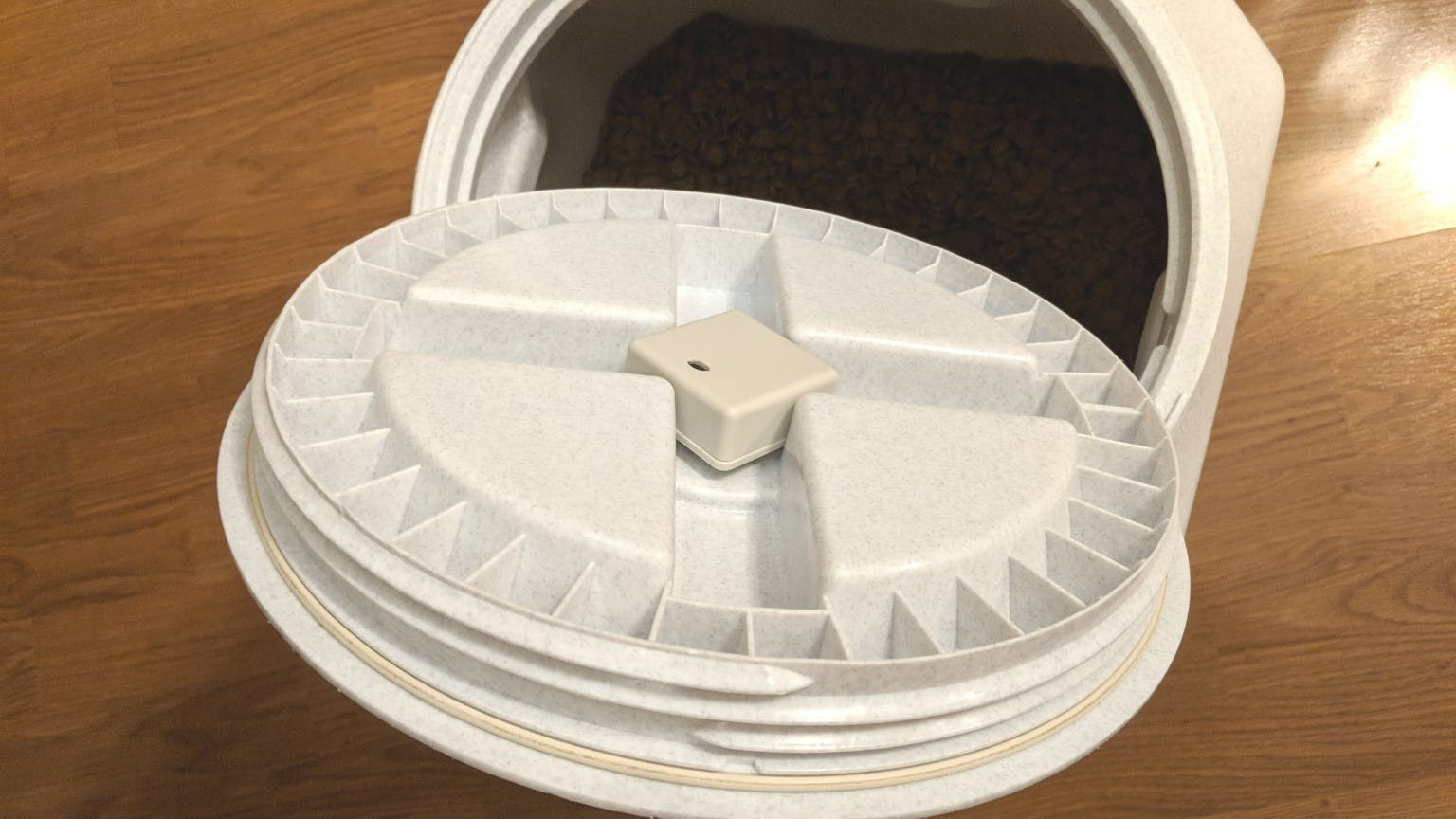 Installed in dog food container