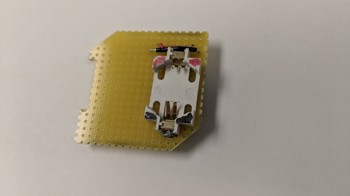 Like the dog food sensor, use two CR2032 holders to provide 6V to 2.8V regulator