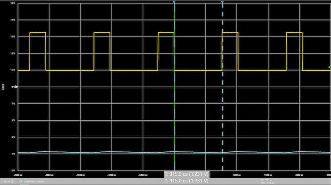 A 25% duty cycle results in an approximately 1.25V analog signal.
