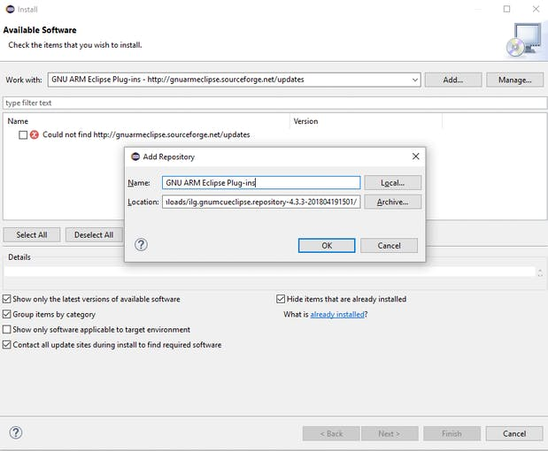 Installing GNU ARM Eclipse Plug-ins