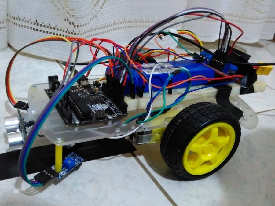 Line Follower Robot with Obstacle Detection - Arduino