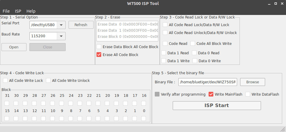 W7500 ISP tool