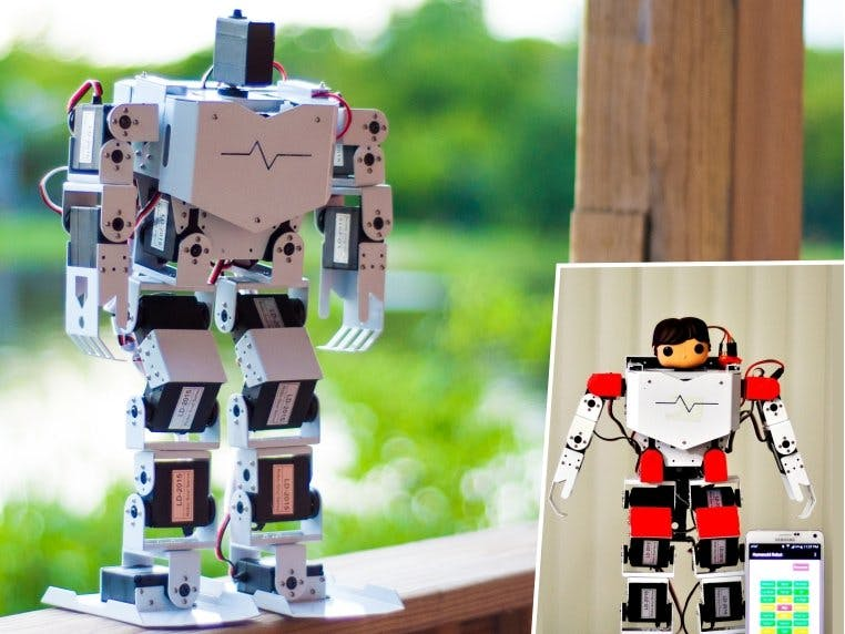 Android-Controlled 17DOF Biped Robot