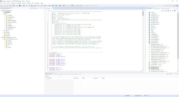 Running WIZ750SR_App in Eclipse