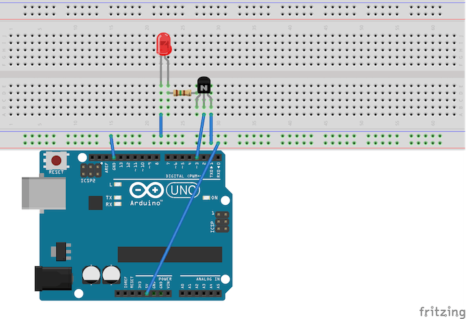 Circuit for controlling the brightness of a single red LED.