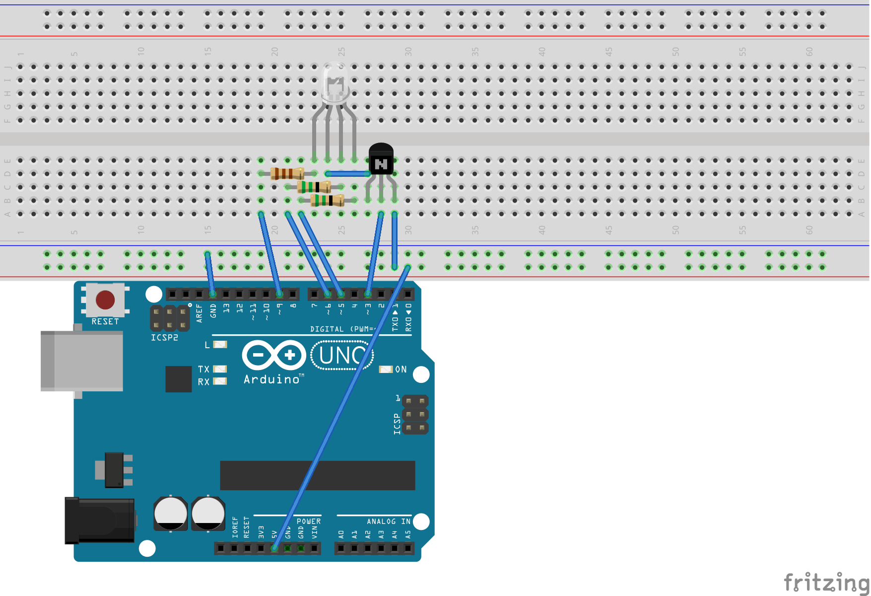 Circuit for controlling the brightness/color of an RGB LED.