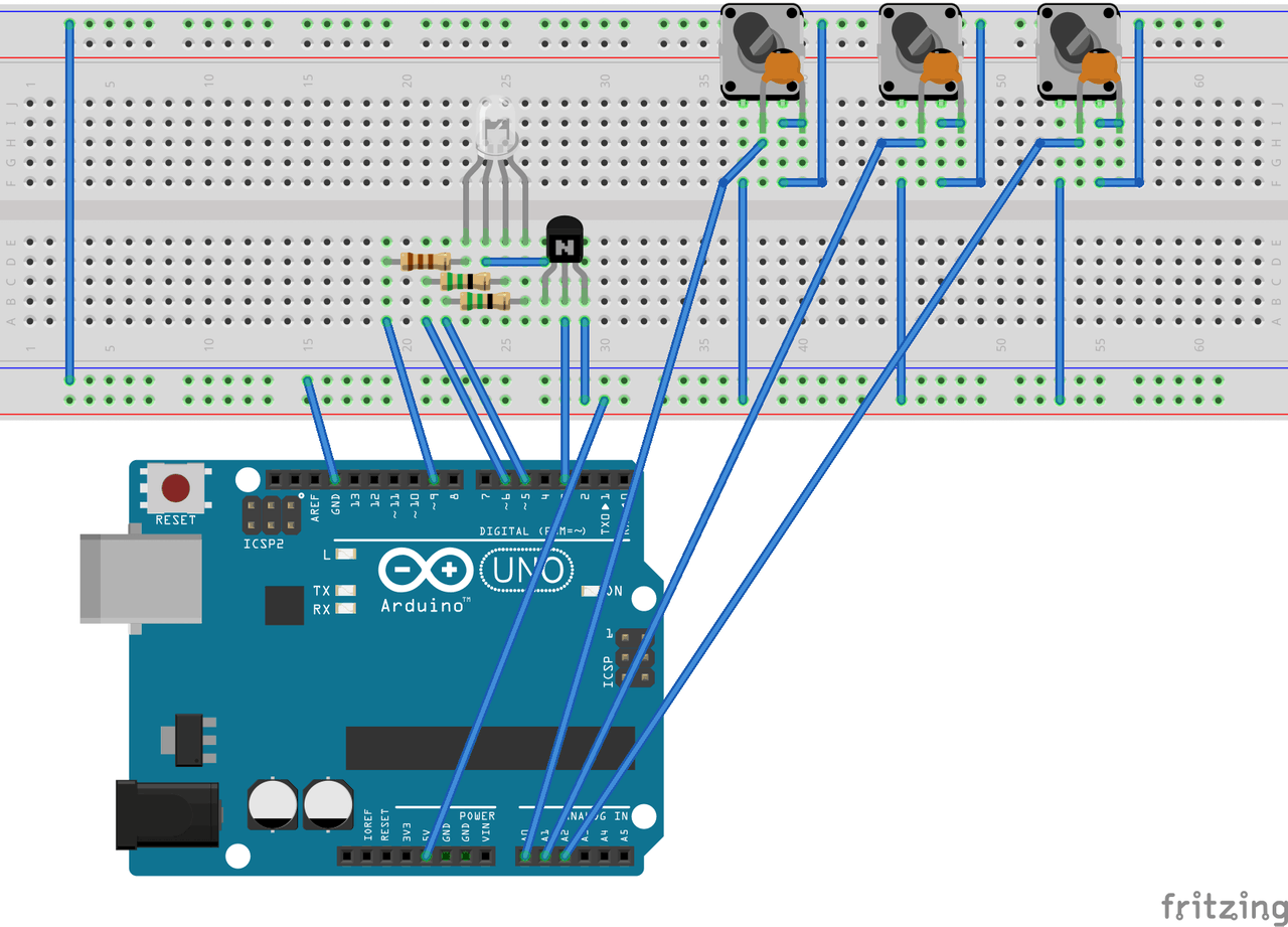 Rgb Light Control With Arduino Brightness For Small Lamps Circuit
