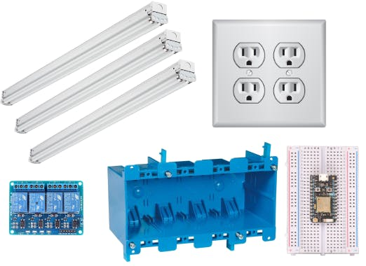 3 fluorescent lights, 4 outlets, electrical work box, relays, and Photon
