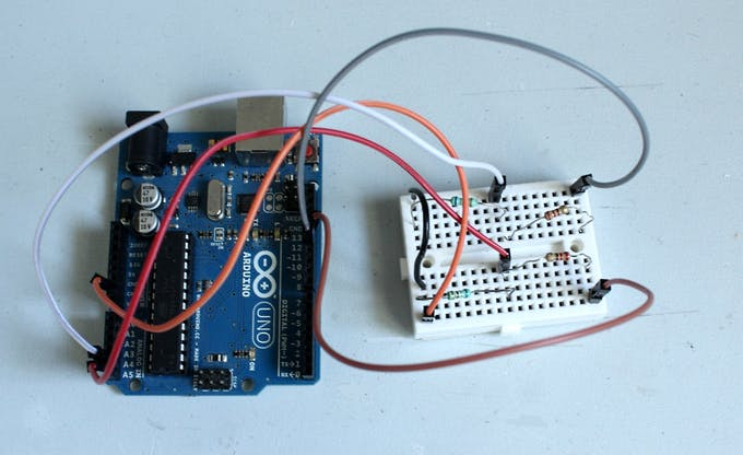 Resistor voltage divider for moisture sensors connected to the Arduino