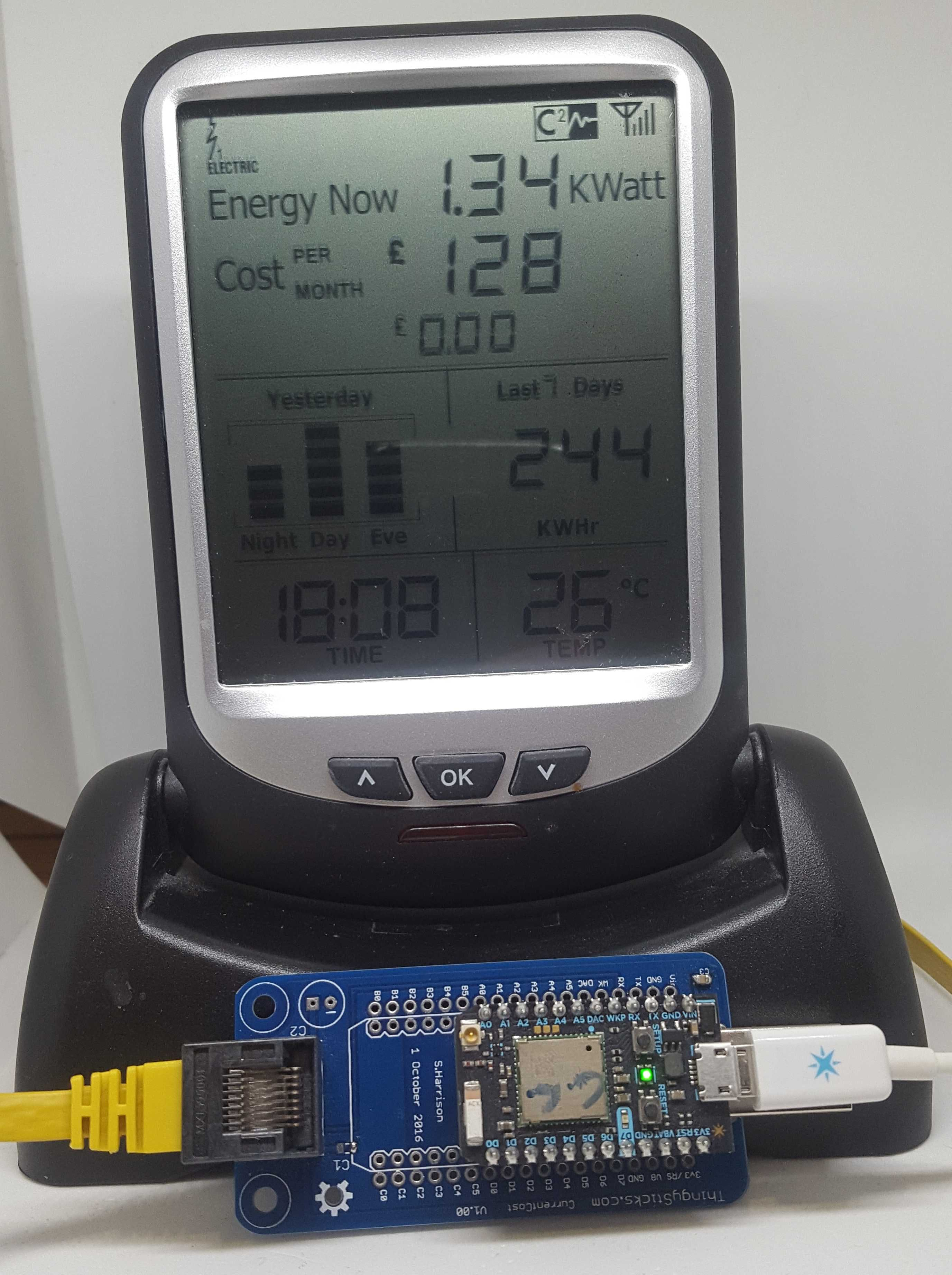 Power monitoring with the ThingyStick Current Cost adaptor and Envir monitor.