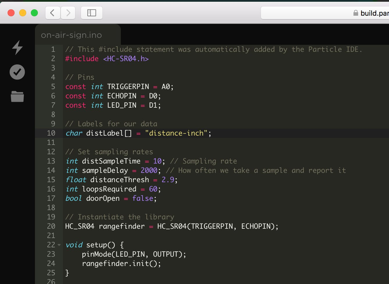 Particle firmware code being edited on build.particle.io