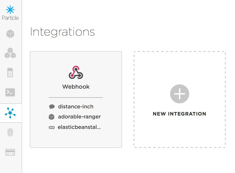 Particle platform Integrations screen.