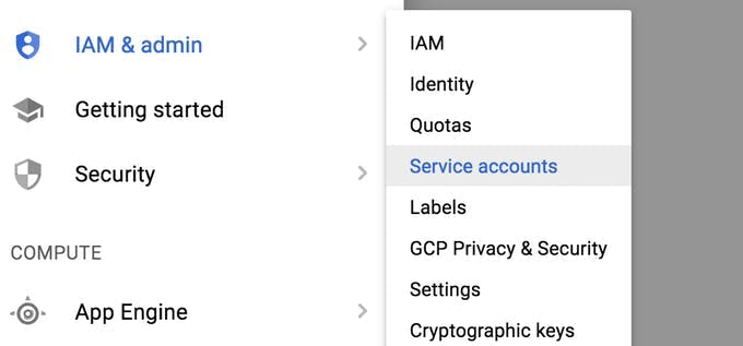 Location of Service account
