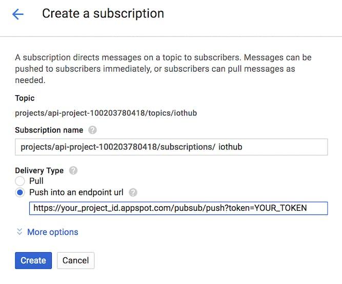 Creating subscription under pub/sub