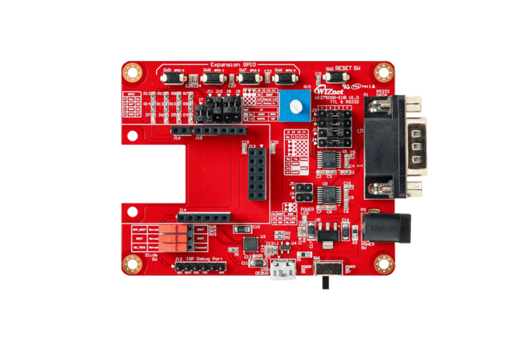 The evaluation board for configuring the WIZ750SR