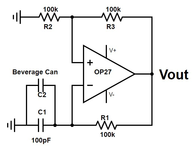 Schematic for the Variable-Frequency Oscillator. Vout is one input to the Signal Mixer.
