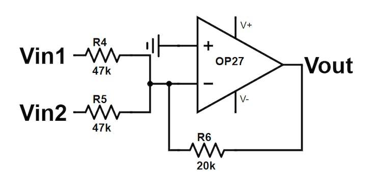 Signal Mixer (Summing Amplifier) schematic