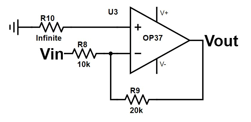 Small gain amplifier schematic. Note: the infinite resistance is simulated by an open circuit at that pin.