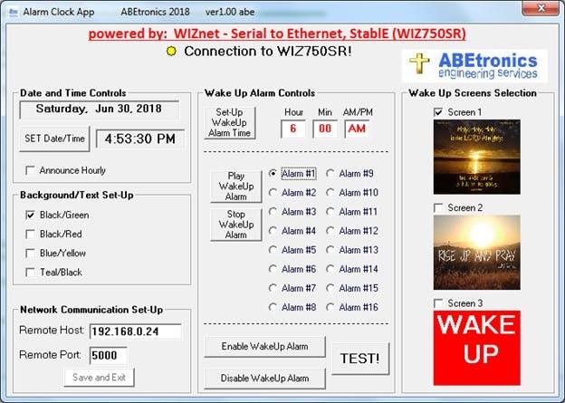 PC app that interfaces with WIZ750SR Module.
