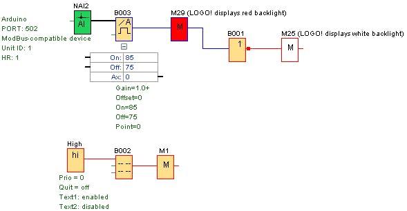Minimun program for Modbus Communication between the Arduino and Logo PLC