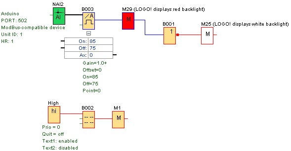 Minimun program for Modbus Communication between the Arduino and Logo PLC