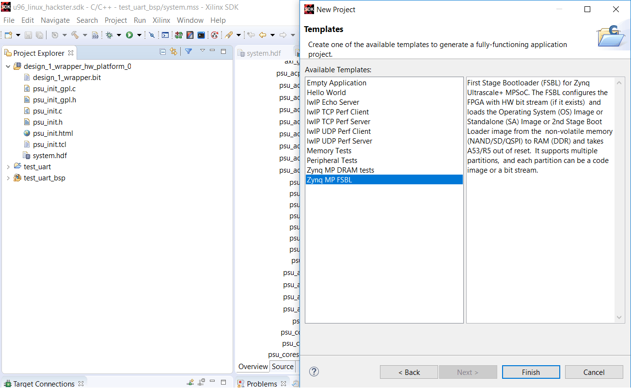 Selecting the Hello World Template