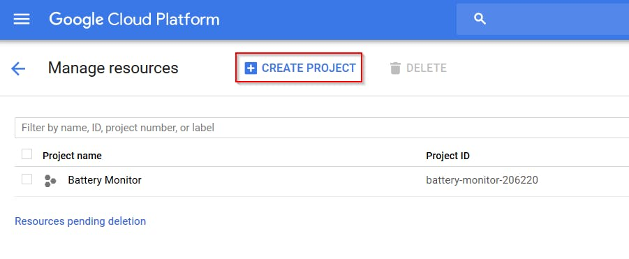 "Click on ""Create Project"" to create a new one"