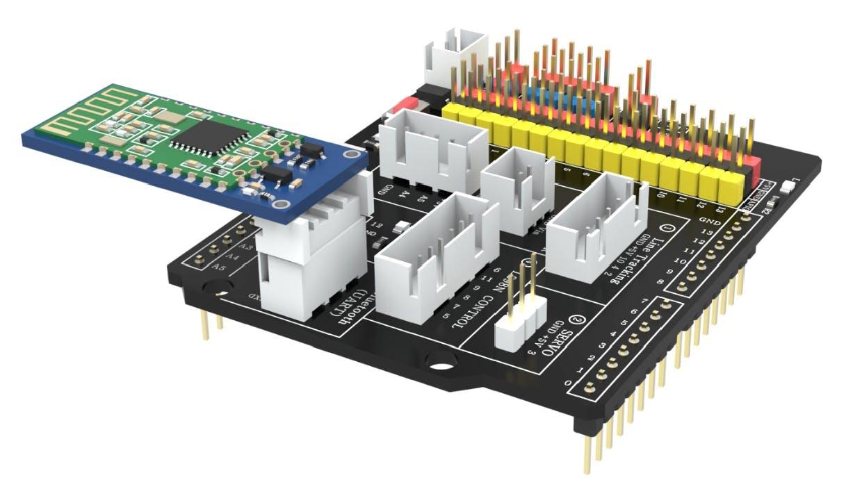 Attach HC-08 Bluetooth chip to Elegoo smart car shield (image from Elegoo)