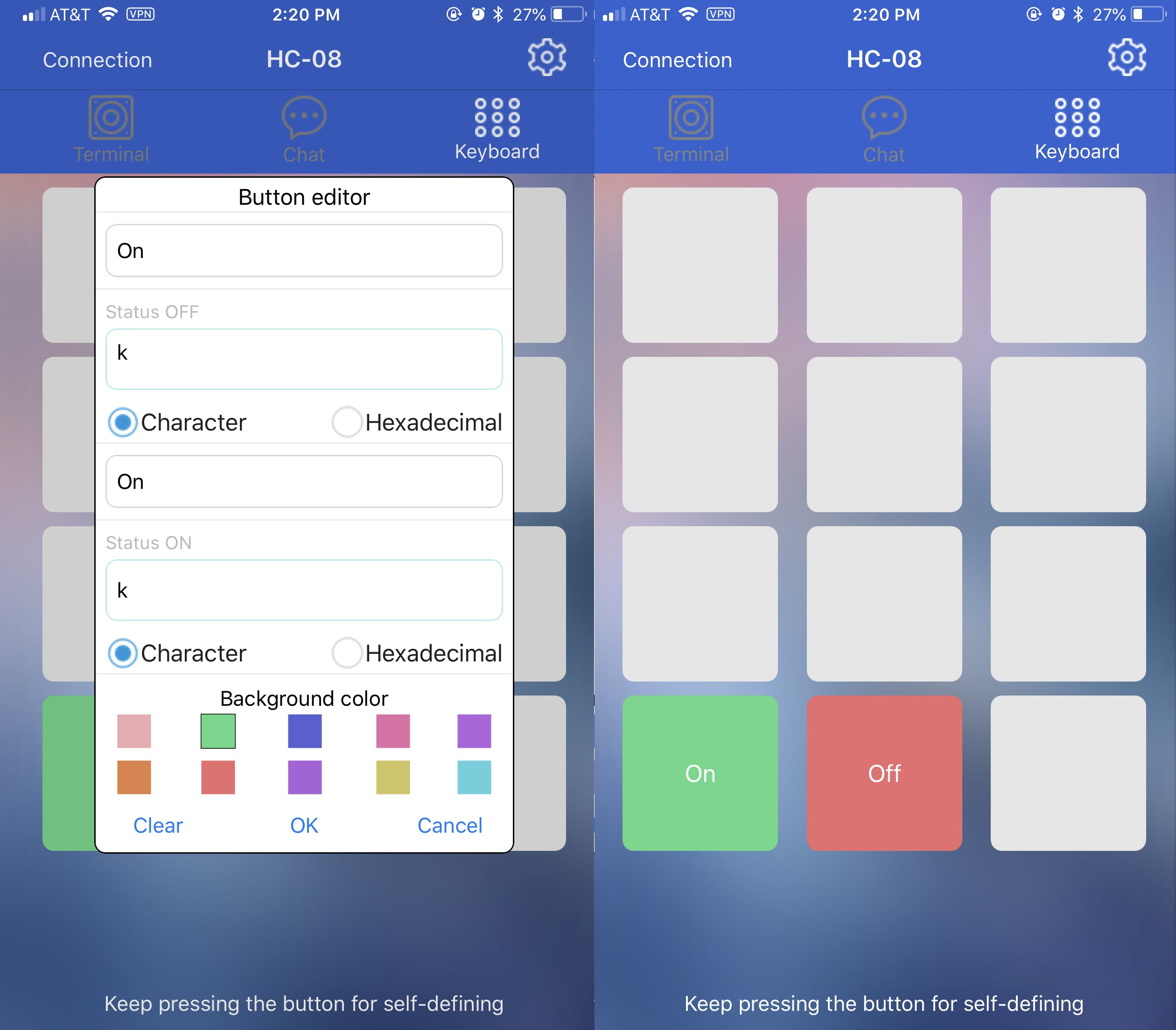 How to define the panels in the app.