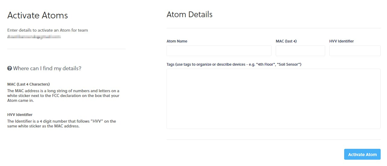 "Fill in the form and click the ""Activate Atom"" button"