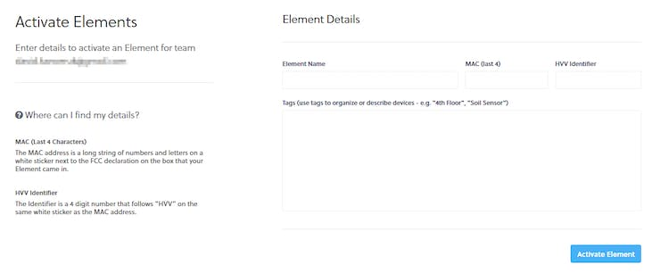 """Fill in the form and click the """"Activate Element"""" button"""