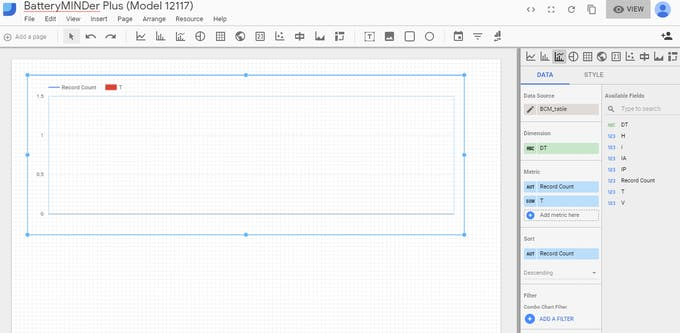 Use the mouse to select the size of chart you wish to create