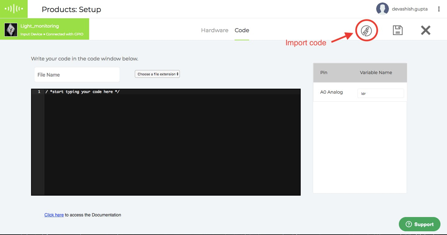 Import example code