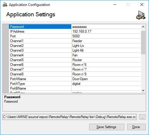 Application configuration screen