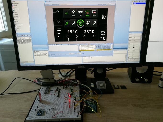 Test run of the software via Nextion emulator (on PC) and Arduino - The LEDs are later outputs for the relays