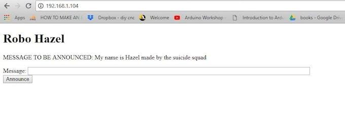 Control page of Robo Hazel