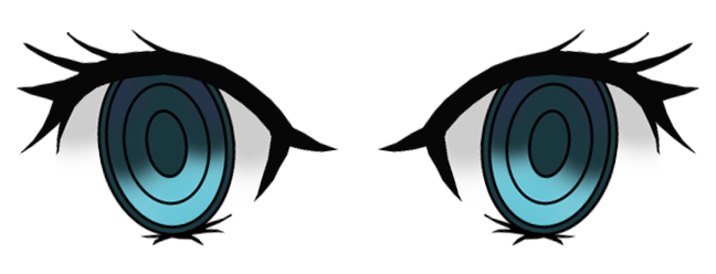 Eyes designed using Photoshop (opened)